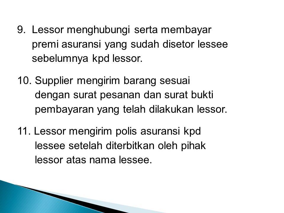 9. Lessor menghubungi serta membayar premi asuransi yang sudah disetor lessee sebelumnya kpd lessor. 10. Supplier mengirim barang sesuai dengan surat