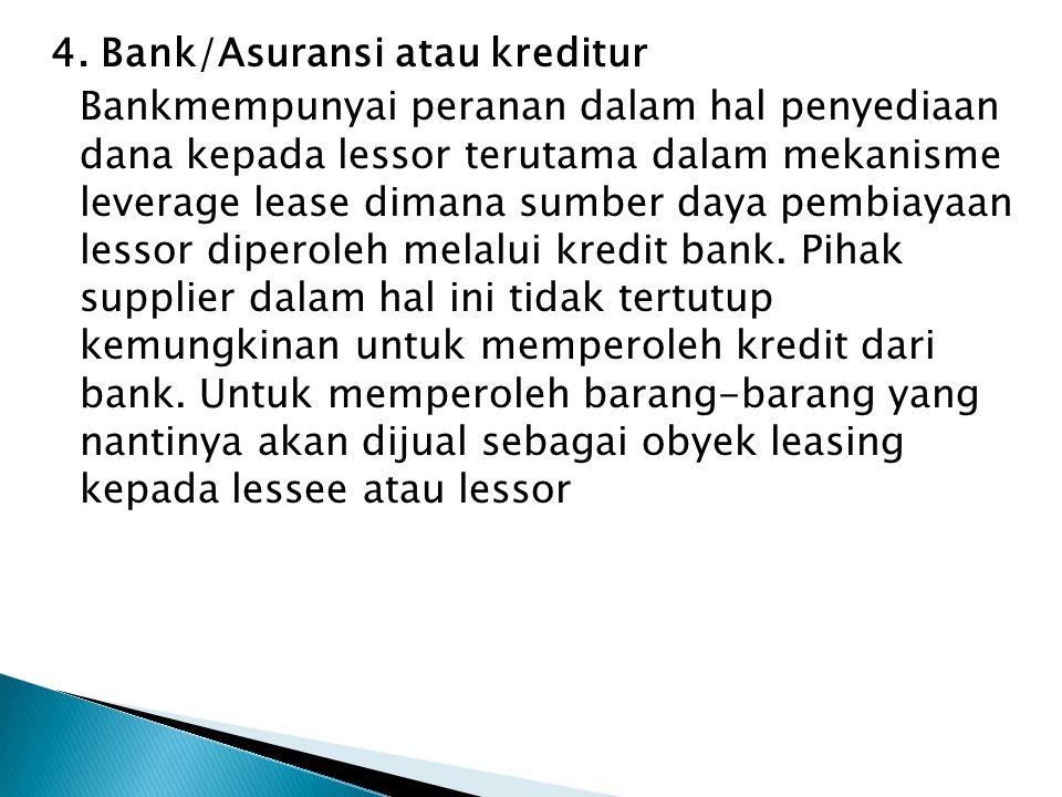 4. Bank/Asuransi atau kreditur Bankmempunyai peranan dalam hal penyediaan dana kepada lessor terutama dalam mekanisme leverage lease dimana sumber day