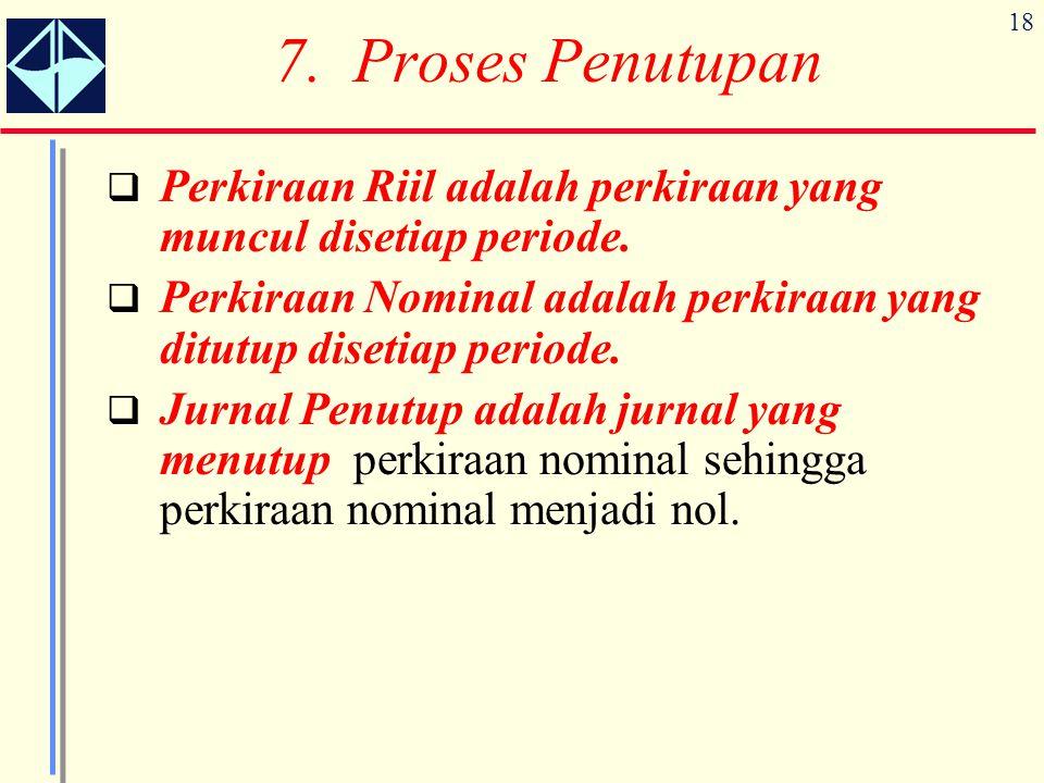 18 7. Proses Penutupan  Perkiraan Riil adalah perkiraan yang muncul disetiap periode.  Perkiraan Nominal adalah perkiraan yang ditutup disetiap peri
