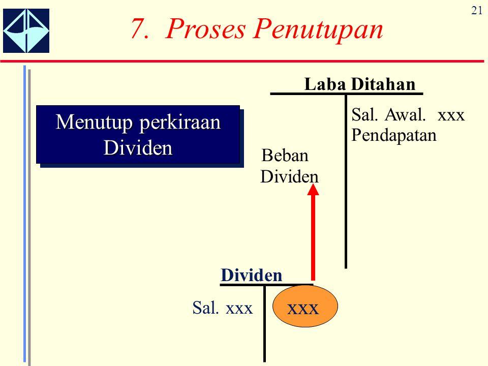 21 Dividen Sal. xxx xxx Menutup perkiraan Dividen 7. Proses Penutupan Laba Ditahan Sal. Awal. xxx Pendapatan Beban Dividen