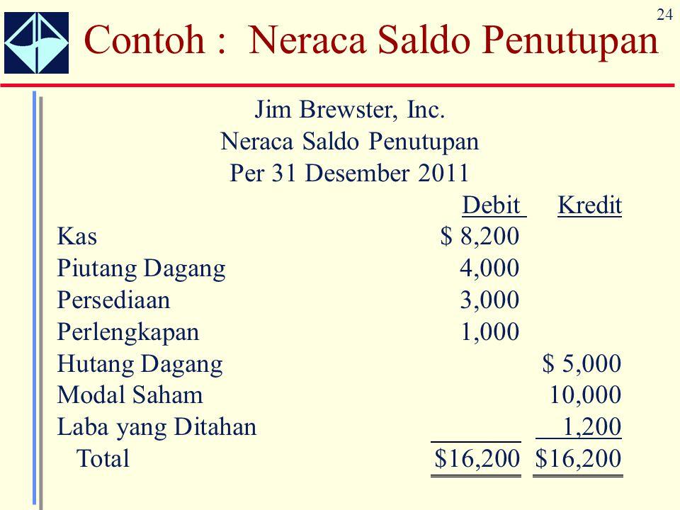 24 Contoh : Neraca Saldo Penutupan Jim Brewster, Inc. Neraca Saldo Penutupan Per 31 Desember 2011 Debit Kredit Kas $ 8,200 Piutang Dagang 4,000 Persed