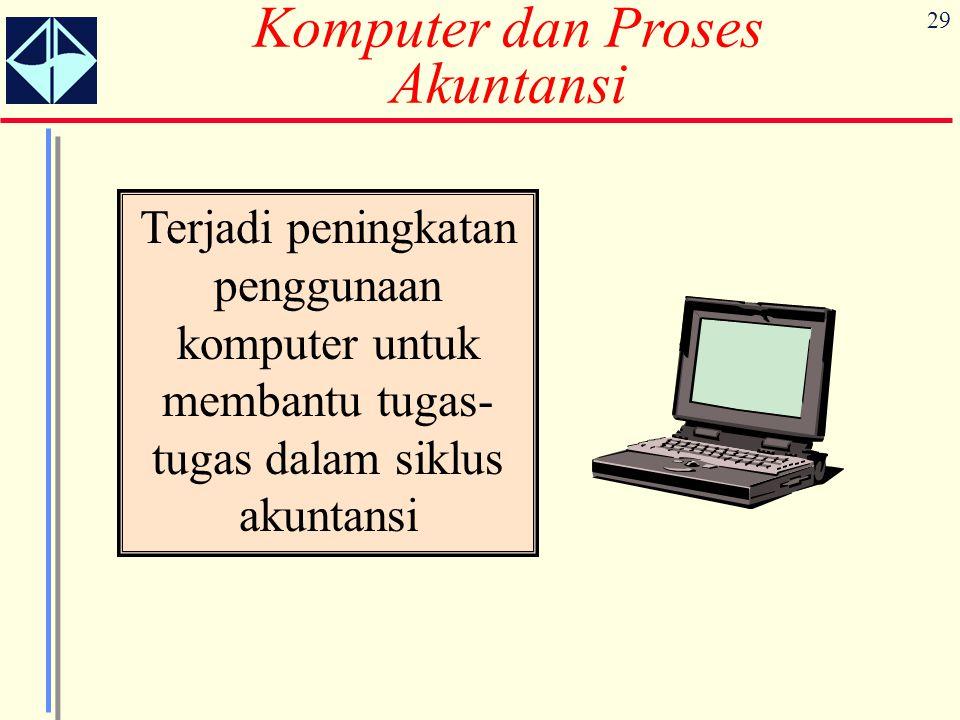 29 Komputer dan Proses Akuntansi Terjadi peningkatan penggunaan komputer untuk membantu tugas- tugas dalam siklus akuntansi