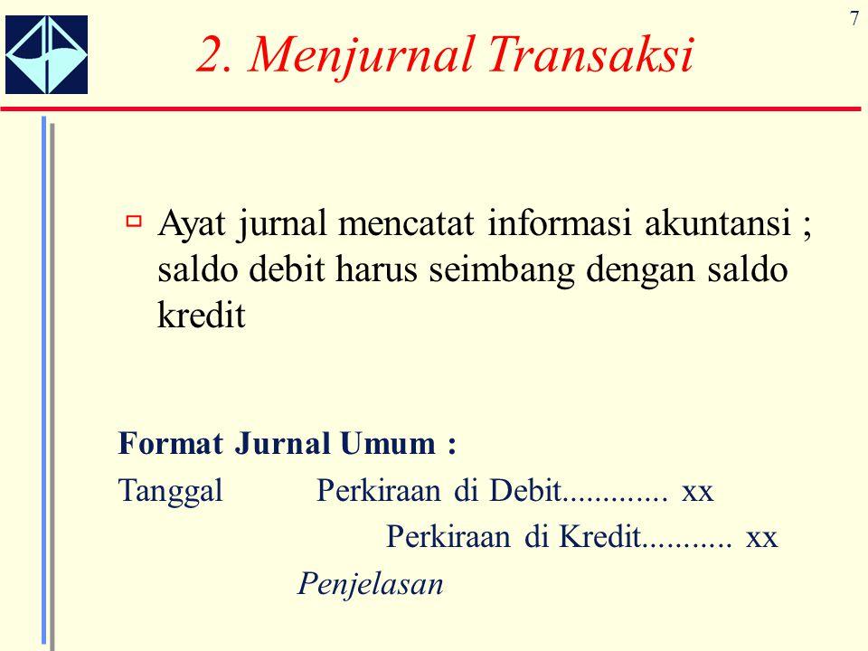 7 Format Jurnal Umum : Tanggal Perkiraan di Debit............. xx Perkiraan di Kredit........... xx Penjelasan  Ayat jurnal mencatat informasi akunta