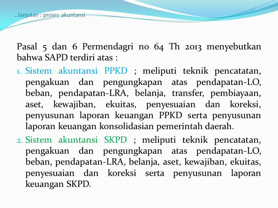 …lanjutan : proses akuntansi Pasal 5 dan 6 Permendagri no 64 Th 2013 menyebutkan bahwa SAPD terdiri atas : 1.