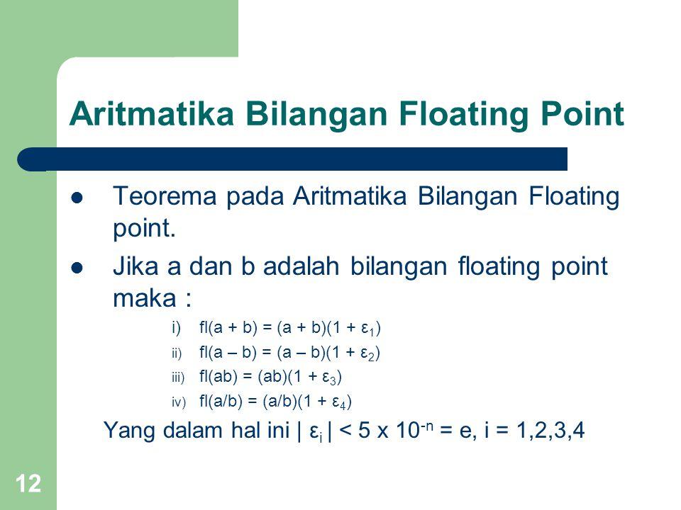 12 Aritmatika Bilangan Floating Point Teorema pada Aritmatika Bilangan Floating point.