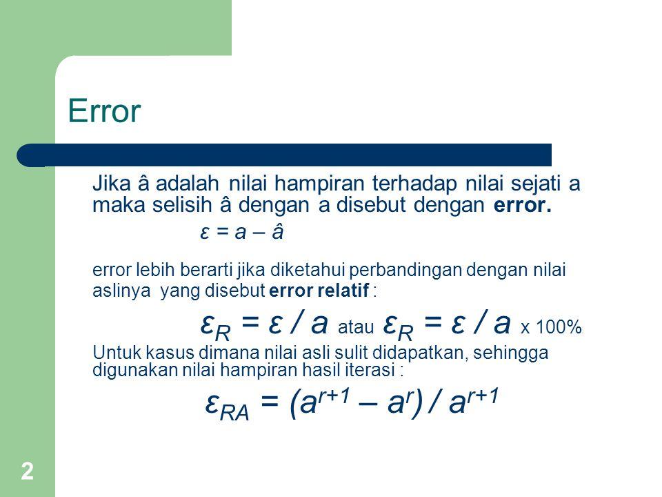 2 Error Jika â adalah nilai hampiran terhadap nilai sejati a maka selisih â dengan a disebut dengan error.