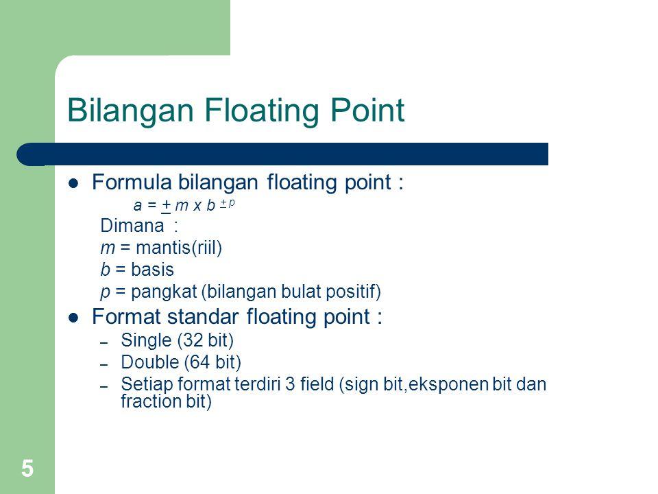 5 Bilangan Floating Point Formula bilangan floating point : a = + m x b + p Dimana : m = mantis(riil) b = basis p = pangkat (bilangan bulat positif) Format standar floating point : – Single (32 bit) – Double (64 bit) – Setiap format terdiri 3 field (sign bit,eksponen bit dan fraction bit)