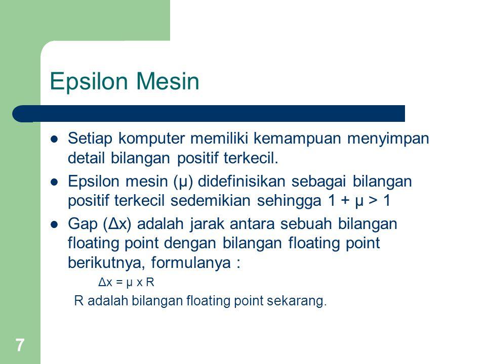 8 Epsilon Mesin (Cont.) Gambar Rentang Bilangan Floating Point