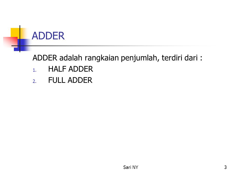 Sari NY3 ADDER ADDER adalah rangkaian penjumlah, terdiri dari : 1. HALF ADDER 2. FULL ADDER