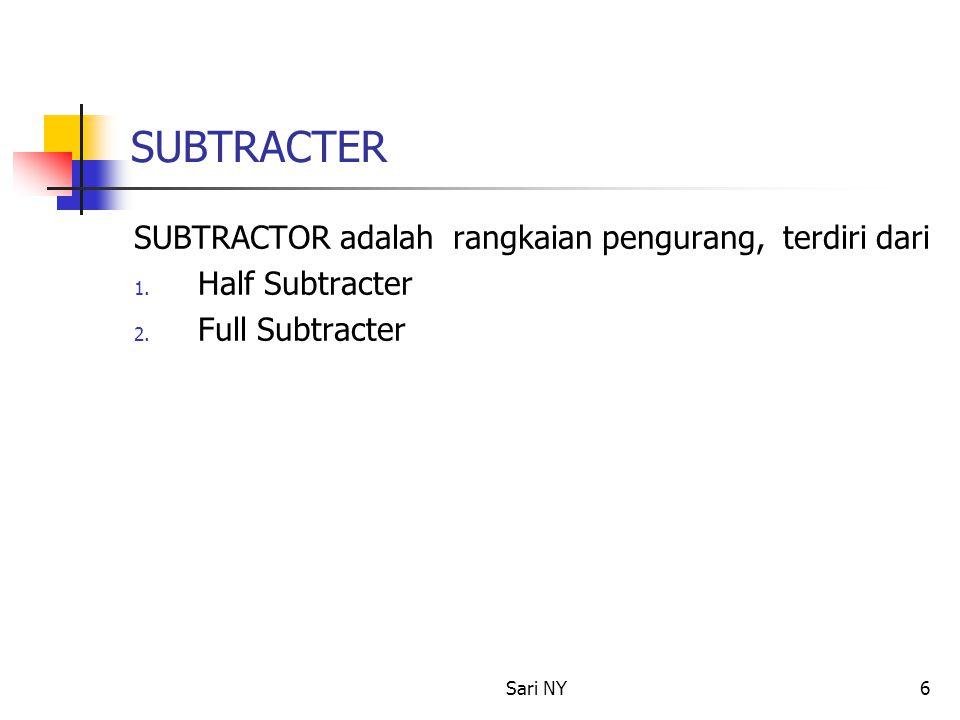 Sari NY6 SUBTRACTER SUBTRACTOR adalah rangkaian pengurang, terdiri dari 1. Half Subtracter 2. Full Subtracter
