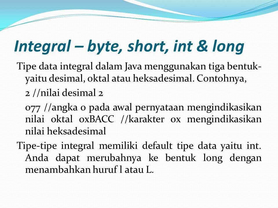 CONT' Tipe data integral memiliki range sebagai berikut: