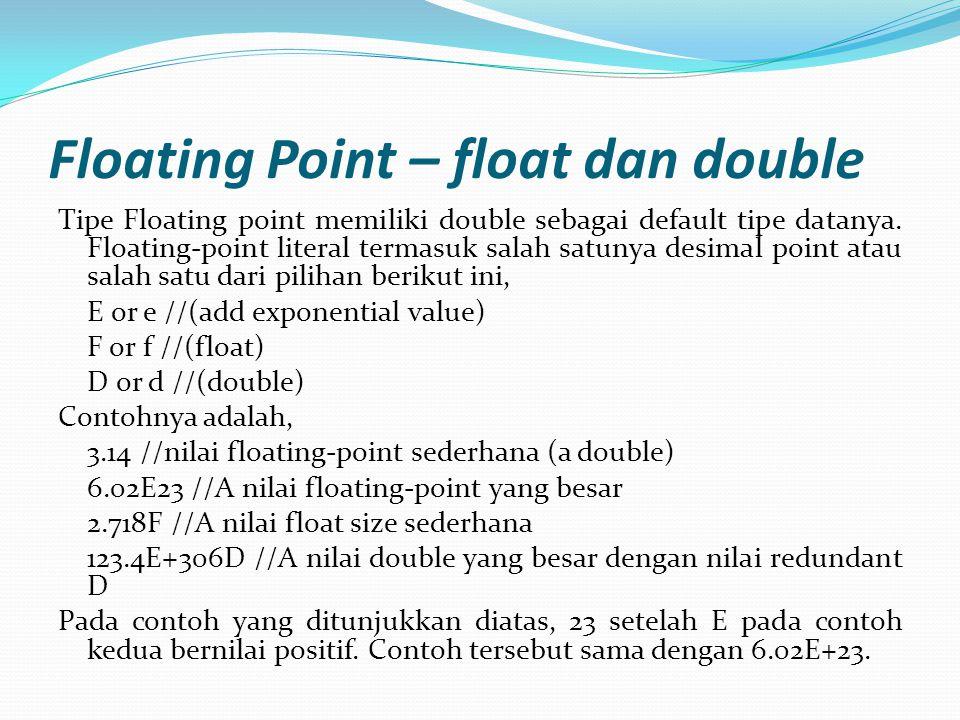 CONT' Tipe data Floating-point memiliki range sebagai berikut: