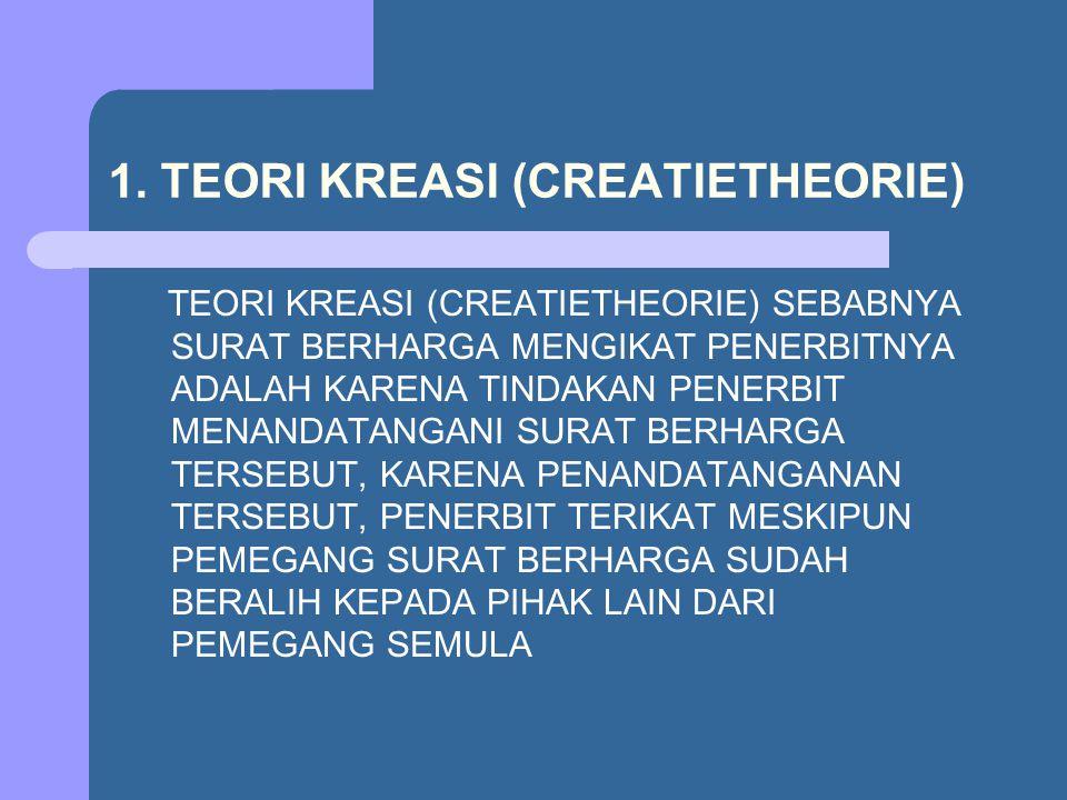 1. TEORI KREASI (CREATIETHEORIE) TEORI KREASI (CREATIETHEORIE) SEBABNYA SURAT BERHARGA MENGIKAT PENERBITNYA ADALAH KARENA TINDAKAN PENERBIT MENANDATAN
