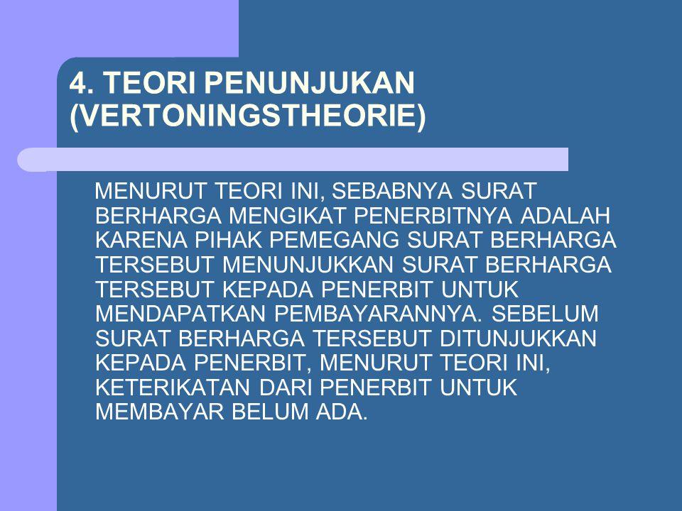 4. TEORI PENUNJUKAN (VERTONINGSTHEORIE) MENURUT TEORI INI, SEBABNYA SURAT BERHARGA MENGIKAT PENERBITNYA ADALAH KARENA PIHAK PEMEGANG SURAT BERHARGA TE