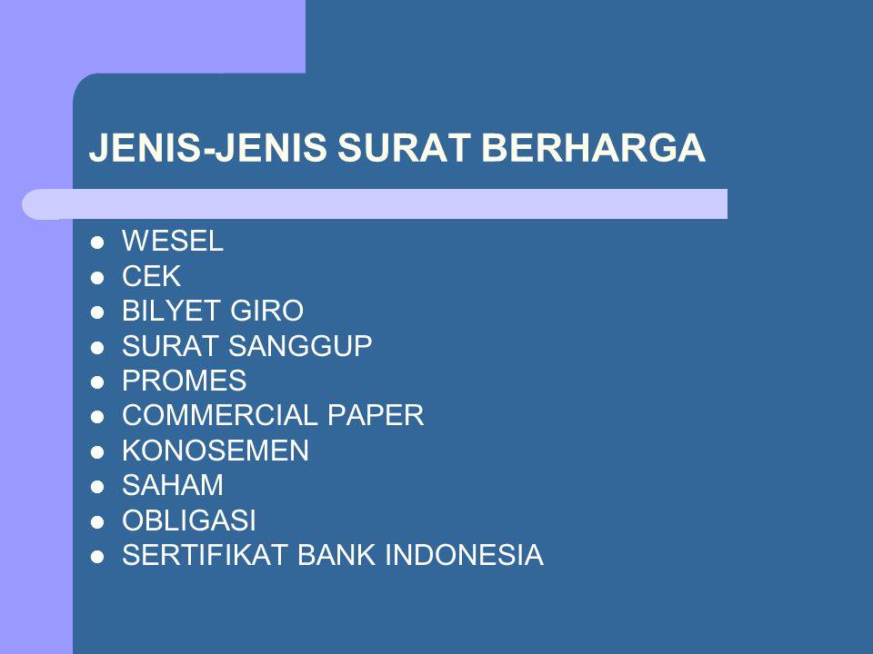 JENIS-JENIS SURAT BERHARGA WESEL CEK BILYET GIRO SURAT SANGGUP PROMES COMMERCIAL PAPER KONOSEMEN SAHAM OBLIGASI SERTIFIKAT BANK INDONESIA