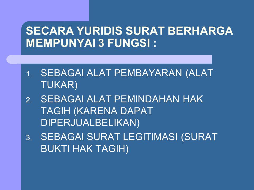 SECARA YURIDIS SURAT BERHARGA MEMPUNYAI 3 FUNGSI : 1. SEBAGAI ALAT PEMBAYARAN (ALAT TUKAR) 2. SEBAGAI ALAT PEMINDAHAN HAK TAGIH (KARENA DAPAT DIPERJUA