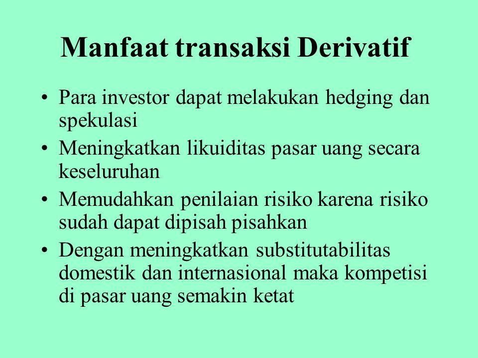 Manfaat transaksi Derivatif Para investor dapat melakukan hedging dan spekulasi Meningkatkan likuiditas pasar uang secara keseluruhan Memudahkan penil