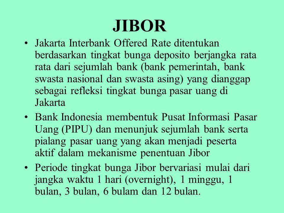 JIBOR Jakarta Interbank Offered Rate ditentukan berdasarkan tingkat bunga deposito berjangka rata rata dari sejumlah bank (bank pemerintah, bank swast