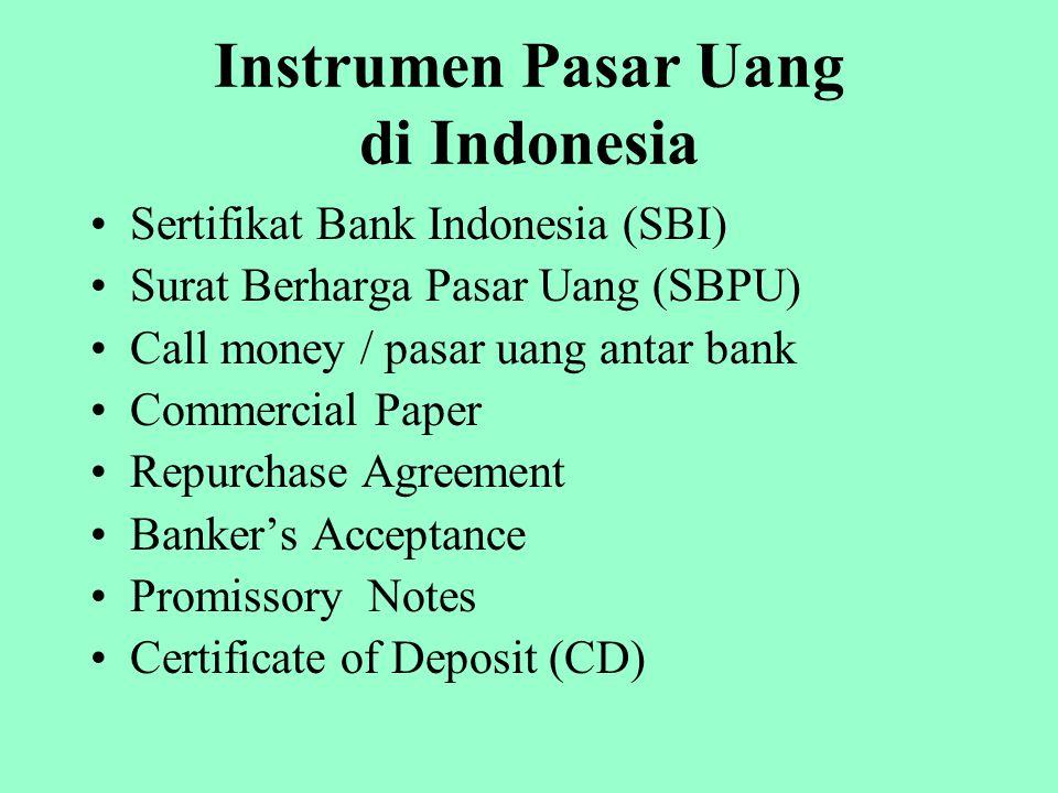Instrumen Pasar Uang di Indonesia Sertifikat Bank Indonesia (SBI) Surat Berharga Pasar Uang (SBPU) Call money / pasar uang antar bank Commercial Paper