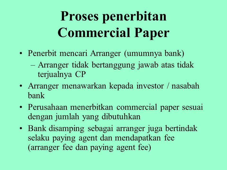 Kelebihan CP bagi Issuer Tingkat suku bunga commercial paper lebih rendah dari prime rate (bunga kredit) Tidak perlu menyediakan jaminan Proses penerbitan relatif mudah karena hanya melibatkan penerbit dan investor Jangka waktu jatuh tempo fleksibel / dapat diperpanjang atas persetujuan investor