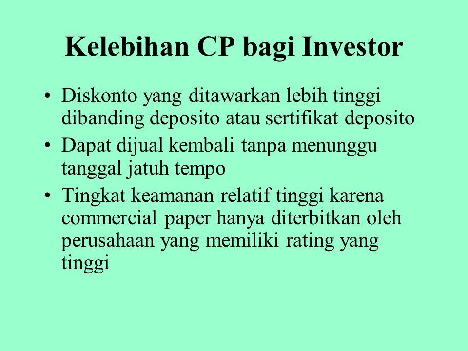 Kelebihan CP bagi Investor Diskonto yang ditawarkan lebih tinggi dibanding deposito atau sertifikat deposito Dapat dijual kembali tanpa menunggu tangg