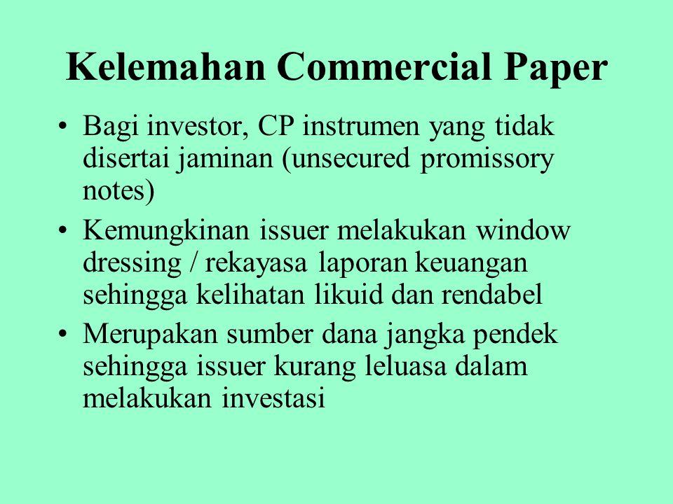 Kelemahan Commercial Paper Bagi investor, CP instrumen yang tidak disertai jaminan (unsecured promissory notes) Kemungkinan issuer melakukan window dr