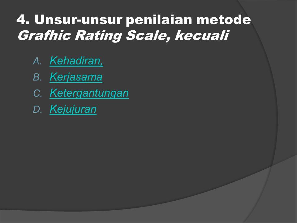 4. Unsur-unsur penilaian metode Grafhic Rating Scale, kecuali A. Kehadiran, Kehadiran, B. Kerjasama Kerjasama C. Ketergantungan Ketergantungan D. Keju