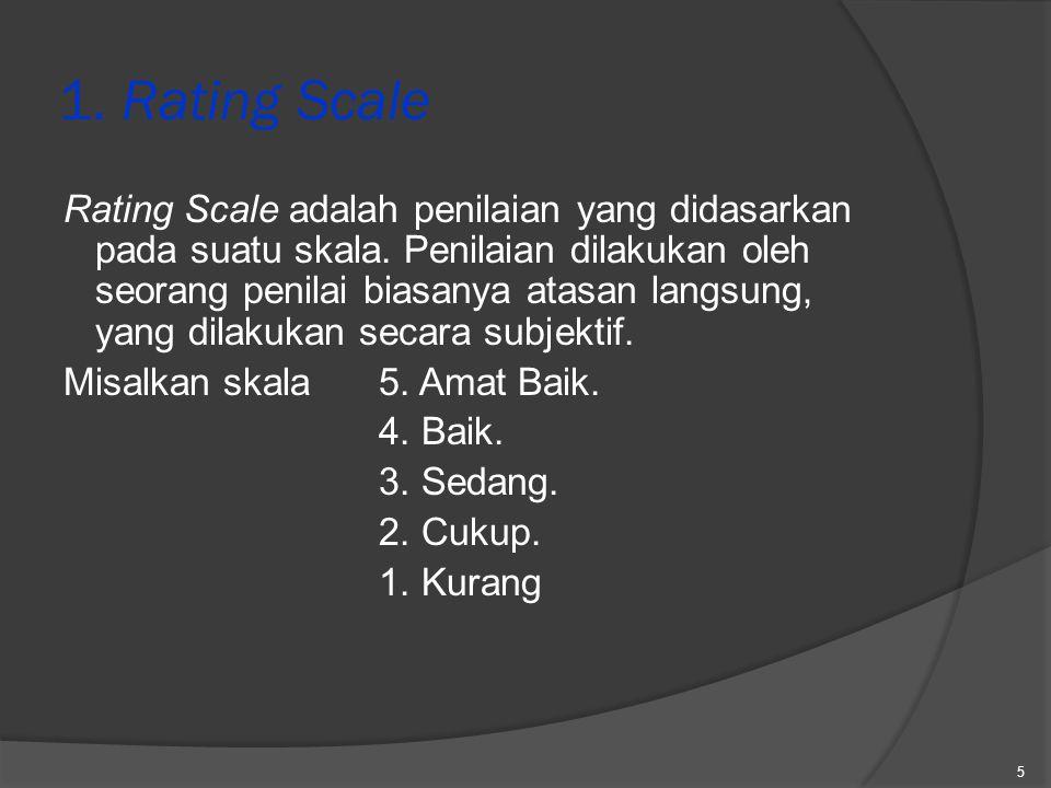 4.Unsur-unsur penilaian metode Grafhic Rating Scale, kecuali A.