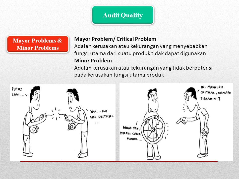 Audit Quality Mayor Problem/ Critical Problem Adalah kerusakan atau kekurangan yang menyebabkan fungsi utama dari suatu produk tidak dapat digunakan M