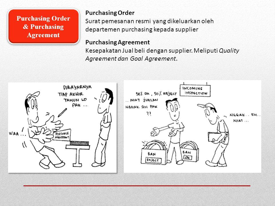 Purchasing Order Surat pemesanan resmi yang dikeluarkan oleh departemen purchasing kepada supplier Purchasing Agreement Kesepakatan Jual beli dengan s