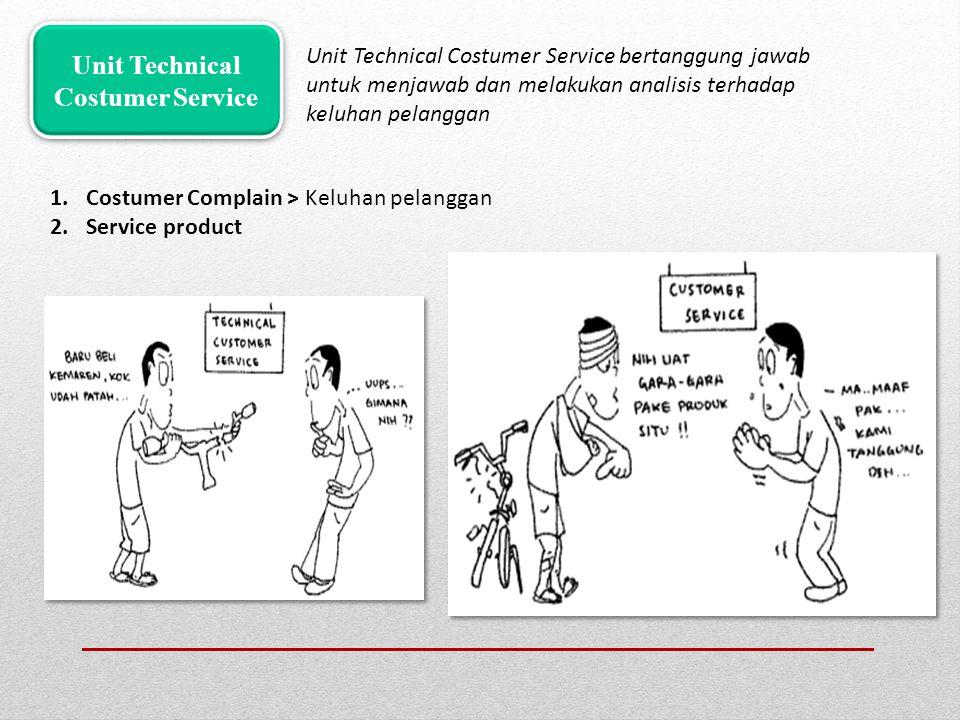 Unit Technical Costumer Service bertanggung jawab untuk menjawab dan melakukan analisis terhadap keluhan pelanggan Unit Technical Costumer Service 1.C