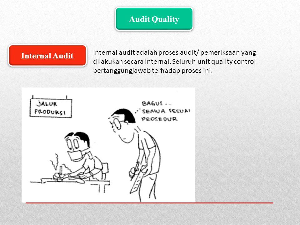 Audit Quality Internal audit adalah proses audit/ pemeriksaan yang dilakukan secara internal. Seluruh unit quality control bertanggungjawab terhadap p