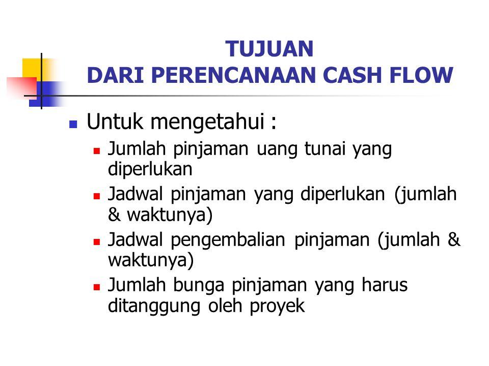 TUJUAN DARI PERENCANAAN CASH FLOW Untuk mengetahui : Jumlah pinjaman uang tunai yang diperlukan Jadwal pinjaman yang diperlukan (jumlah & waktunya) Jadwal pengembalian pinjaman (jumlah & waktunya) Jumlah bunga pinjaman yang harus ditanggung oleh proyek