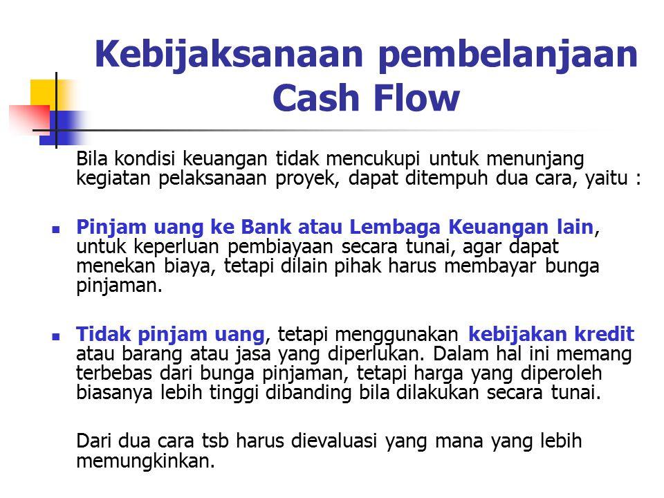 MANFAAT PERENCANAAN CASH FLOW Menjamin lancarnya kemajuan pelaksanaan proyek dari segi pembayaran Menekan sekecil mungkin biaya pinjaman yang harus ditanggung oleh proyek