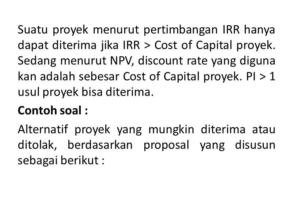 Suatu proyek menurut pertimbangan IRR hanya dapat diterima jika IRR > Cost of Capital proyek.
