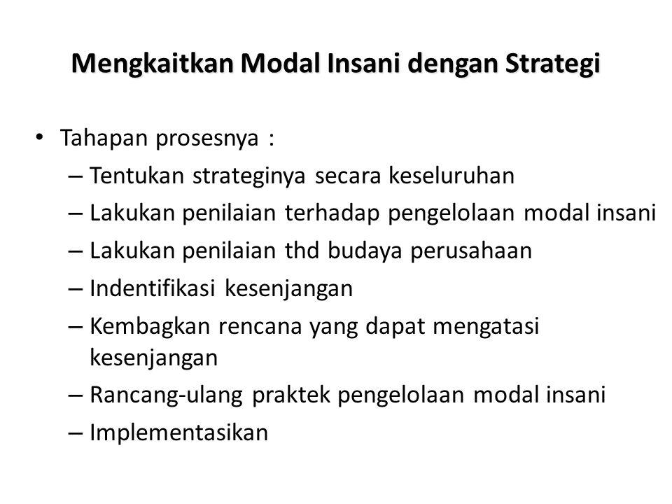 Mengkaitkan Modal Insani dengan Strategi Tahapan prosesnya : – Tentukan strateginya secara keseluruhan – Lakukan penilaian terhadap pengelolaan modal