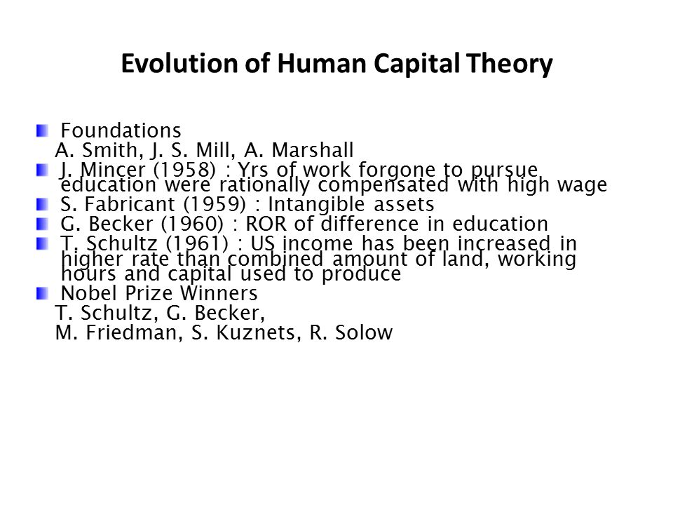Evolution of Human Capital Theory Foundations A. Smith, J. S. Mill, A. Marshall J. Mincer (1958) : Yrs of work forgone to pursue education were ration