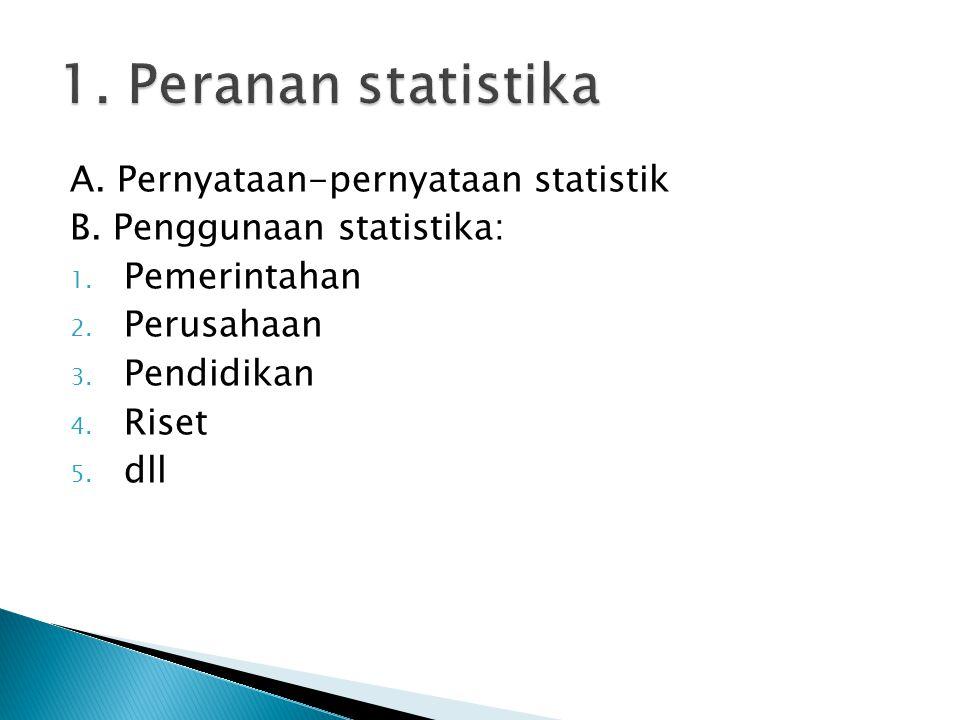 A. Pernyataan-pernyataan statistik B. Penggunaan statistika: 1. Pemerintahan 2. Perusahaan 3. Pendidikan 4. Riset 5. dll