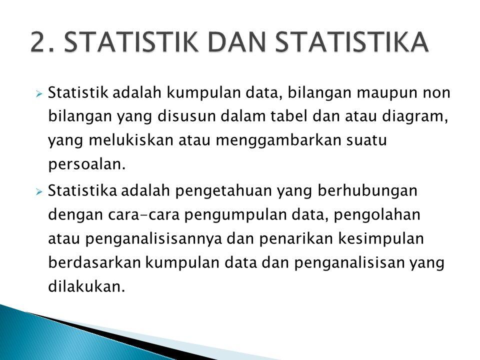  Statistik adalah kumpulan data, bilangan maupun non bilangan yang disusun dalam tabel dan atau diagram, yang melukiskan atau menggambarkan suatu per