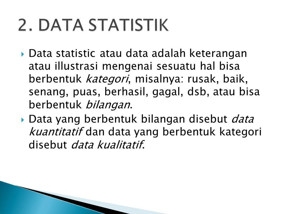1.Data diskrit, yaitu data yang diperoleh dari hasil menghitung atau membilang.
