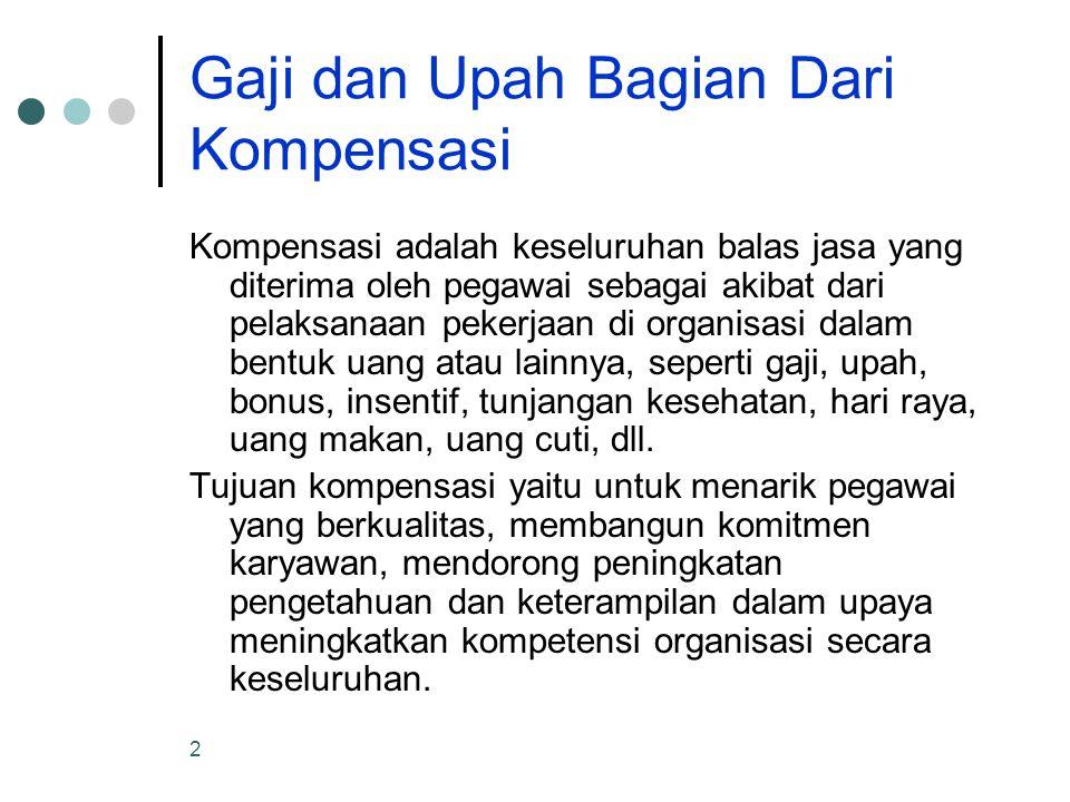 3 Gaji dan Upah Gaji adalah balas jasa dalam bentuk uang yang diterima pegawai sebagai konsekuensi dari kedudukannya sebagai seorang pegawai yang memberikan sumbangan dalam mencapai tujuan organisasi.