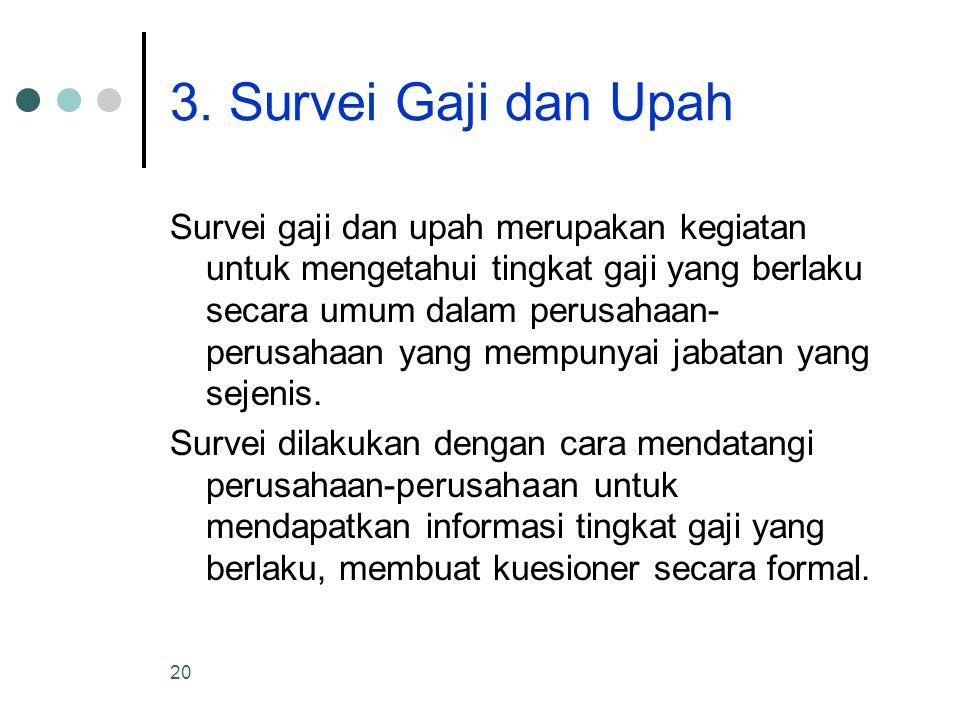 20 3. Survei Gaji dan Upah Survei gaji dan upah merupakan kegiatan untuk mengetahui tingkat gaji yang berlaku secara umum dalam perusahaan- perusahaan