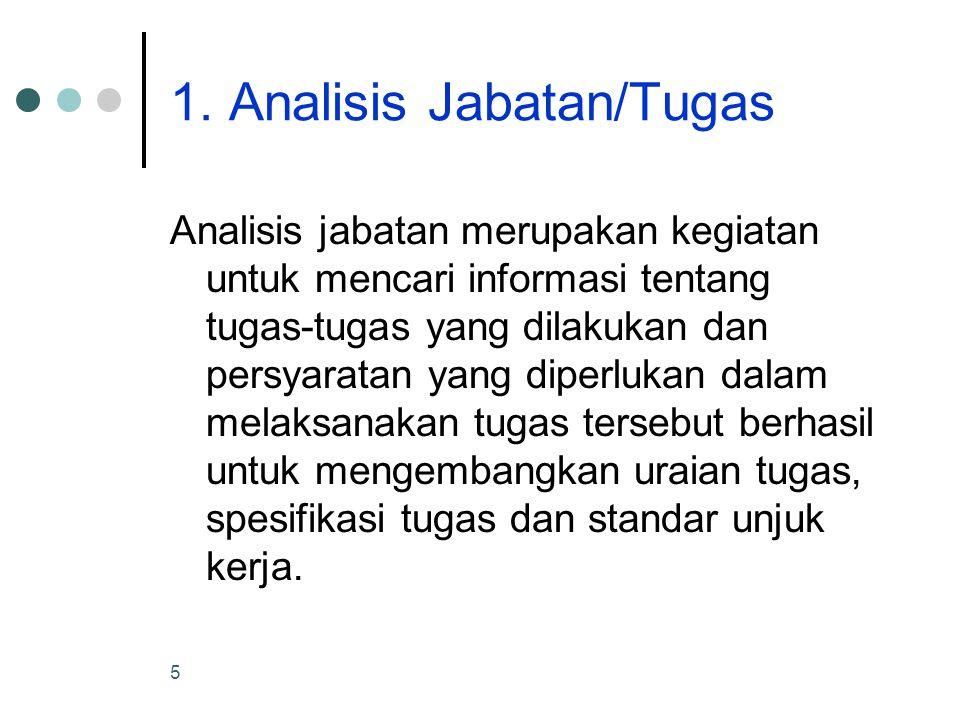 5 1. Analisis Jabatan/Tugas Analisis jabatan merupakan kegiatan untuk mencari informasi tentang tugas-tugas yang dilakukan dan persyaratan yang diperl