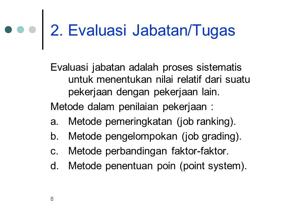 6 2. Evaluasi Jabatan/Tugas Evaluasi jabatan adalah proses sistematis untuk menentukan nilai relatif dari suatu pekerjaan dengan pekerjaan lain. Metod