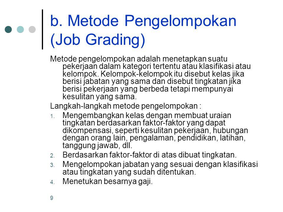 9 b. Metode Pengelompokan (Job Grading) Metode pengelompokan adalah menetapkan suatu pekerjaan dalam kategori tertentu atau klasifikasi atau kelompok.
