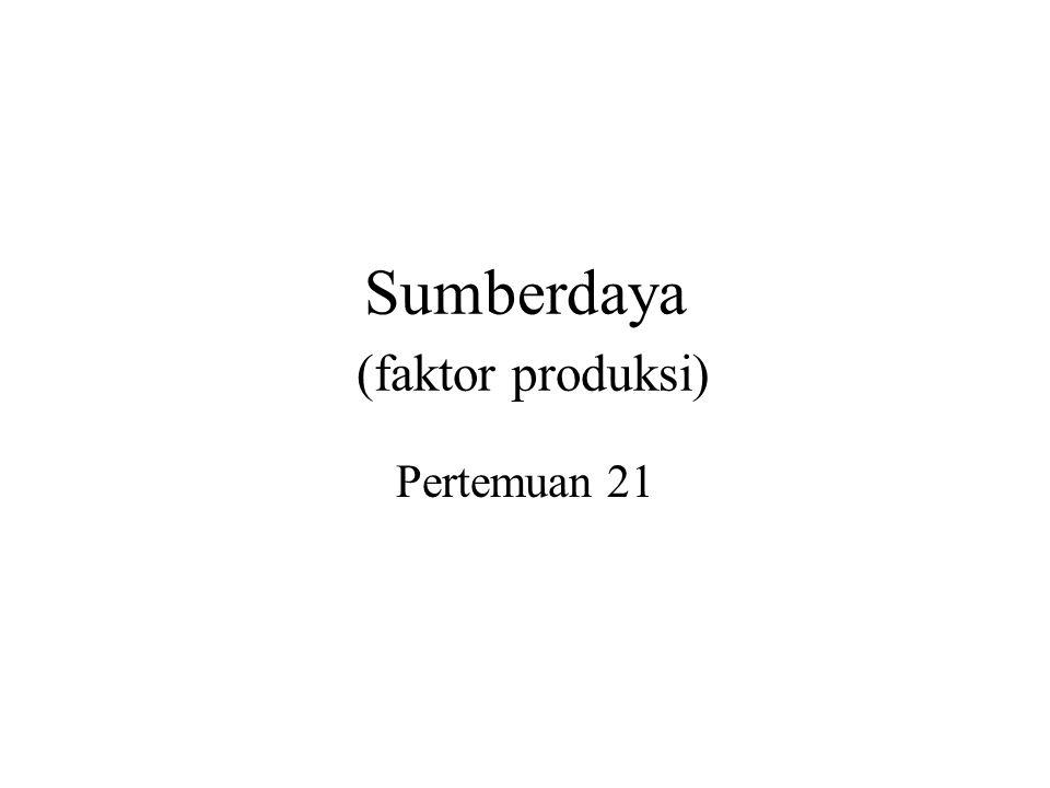 Sumberdaya (faktor produksi) Pertemuan 21