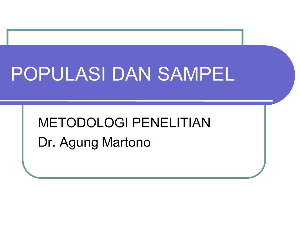 POPULASI DAN SAMPEL METODOLOGI PENELITIAN Dr. Agung Martono