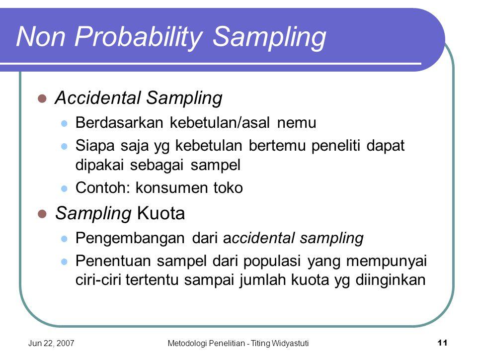 Jun 22, 2007Metodologi Penelitian - Titing Widyastuti11 Non Probability Sampling Accidental Sampling Berdasarkan kebetulan/asal nemu Siapa saja yg keb