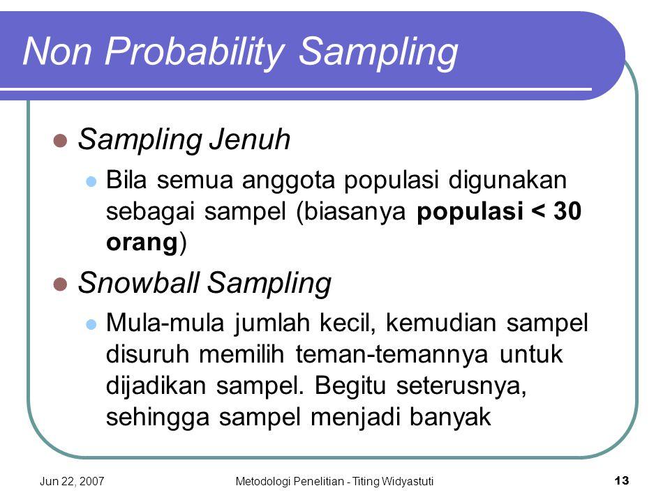 Jun 22, 2007Metodologi Penelitian - Titing Widyastuti13 Non Probability Sampling Sampling Jenuh Bila semua anggota populasi digunakan sebagai sampel (