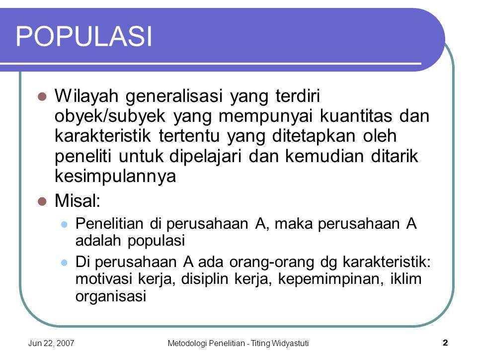 Jun 22, 2007Metodologi Penelitian - Titing Widyastuti2 POPULASI Wilayah generalisasi yang terdiri obyek/subyek yang mempunyai kuantitas dan karakteris